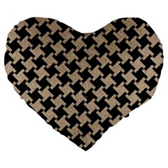 Houndstooth2 Black Marble & Sand Large 19  Premium Heart Shape Cushions by trendistuff