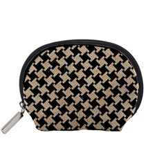 Houndstooth2 Black Marble & Sand Accessory Pouches (small)  by trendistuff