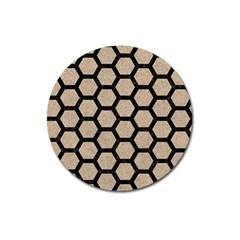 Hexagon2 Black Marble & Sand Magnet 3  (round) by trendistuff