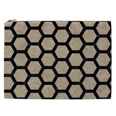 Hexagon2 Black Marble & Sand Cosmetic Bag (xxl)  by trendistuff