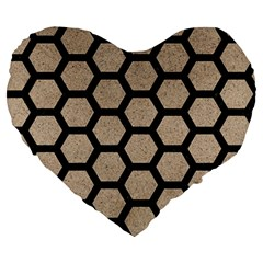 Hexagon2 Black Marble & Sand Large 19  Premium Heart Shape Cushions by trendistuff
