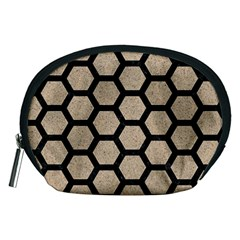 Hexagon2 Black Marble & Sand Accessory Pouches (medium)  by trendistuff
