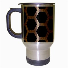 Hexagon2 Black Marble & Sand (r) Travel Mug (silver Gray) by trendistuff