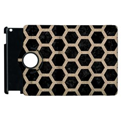 Hexagon2 Black Marble & Sand (r) Apple Ipad 2 Flip 360 Case by trendistuff