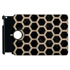 Hexagon2 Black Marble & Sand (r) Apple Ipad 3/4 Flip 360 Case by trendistuff