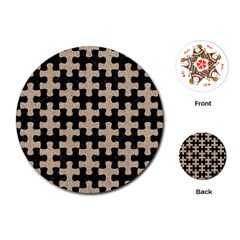 Puzzle1 Black Marble & Sand Playing Cards (round)  by trendistuff