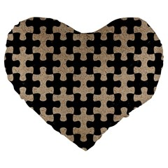 Puzzle1 Black Marble & Sand Large 19  Premium Flano Heart Shape Cushions by trendistuff