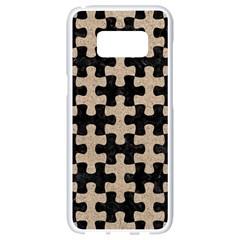 Puzzle1 Black Marble & Sand Samsung Galaxy S8 White Seamless Case by trendistuff