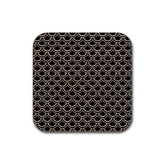 Scales2 Black Marble & Sand (r) Rubber Square Coaster (4 Pack)  by trendistuff
