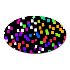 Colorful Rectangles On A Black Background                                 Magnet (oval) by LalyLauraFLM