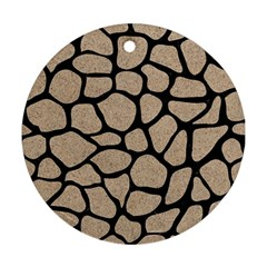 Skin1 Black Marble & Sand (r) Round Ornament (two Sides) by trendistuff