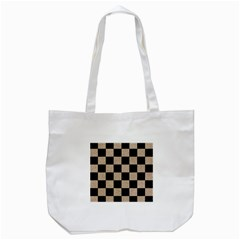 Square1 Black Marble & Sand Tote Bag (white) by trendistuff