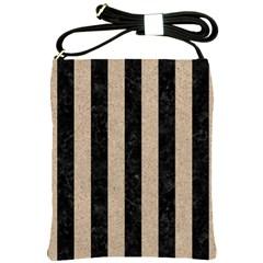 Stripes1 Black Marble & Sand Shoulder Sling Bags by trendistuff