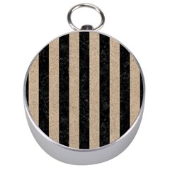 Stripes1 Black Marble & Sand Silver Compasses by trendistuff