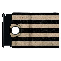 Stripes2 Black Marble & Sand Apple Ipad 3/4 Flip 360 Case by trendistuff