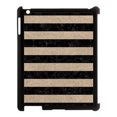 Stripes2 Black Marble & Sand Apple Ipad 3/4 Case (black) by trendistuff