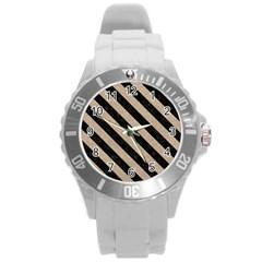 Stripes3 Black Marble & Sand Round Plastic Sport Watch (l) by trendistuff