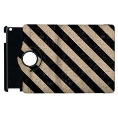 Stripes3 Black Marble & Sand Apple Ipad 3/4 Flip 360 Case by trendistuff
