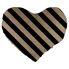 Stripes3 Black Marble & Sand Large 19  Premium Heart Shape Cushions by trendistuff