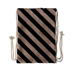 Stripes3 Black Marble & Sand Drawstring Bag (small) by trendistuff