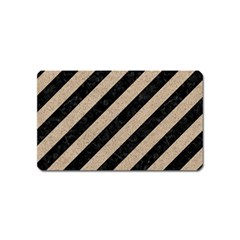 Stripes3 Black Marble & Sand (r) Magnet (name Card) by trendistuff