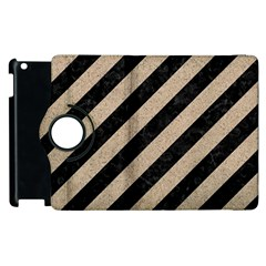 Stripes3 Black Marble & Sand (r) Apple Ipad 3/4 Flip 360 Case by trendistuff