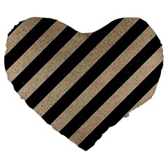 Stripes3 Black Marble & Sand (r) Large 19  Premium Heart Shape Cushions by trendistuff