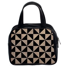 Triangle1 Black Marble & Sand Classic Handbags (2 Sides) by trendistuff