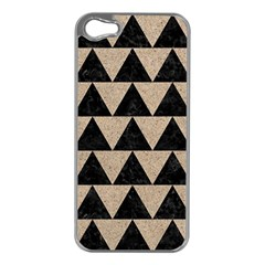 Triangle2 Black Marble & Sand Apple Iphone 5 Case (silver)