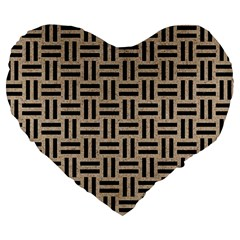 Woven1 Black Marble & Sand Large 19  Premium Heart Shape Cushions by trendistuff