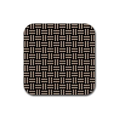 Woven1 Black Marble & Sand (r) Rubber Coaster (square)  by trendistuff