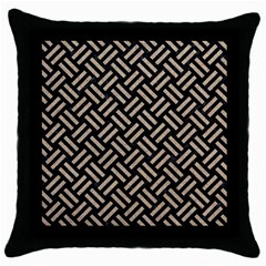 Woven2 Black Marble & Sand (r) Throw Pillow Case (black) by trendistuff