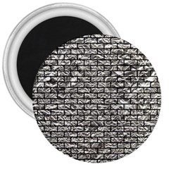 Brick1 Black Marble & Silver Foil 3  Magnets by trendistuff
