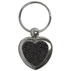Brick1 Black Marble & Silver Foil (r) Key Chains (heart)  by trendistuff