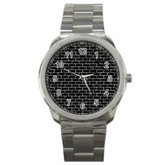 Brick1 Black Marble & Silver Foil (r) Sport Metal Watch by trendistuff