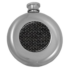 Brick1 Black Marble & Silver Foil (r) Round Hip Flask (5 Oz) by trendistuff