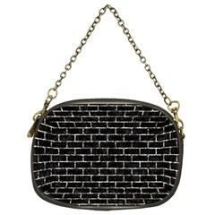 Brick1 Black Marble & Silver Foil (r) Chain Purses (two Sides)  by trendistuff