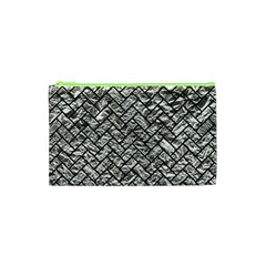 Brick2 Black Marble & Silver Foil Cosmetic Bag (xs) by trendistuff