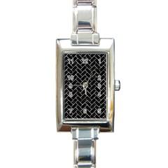 Brick2 Black Marble & Silver Foil (r) Rectangle Italian Charm Watch by trendistuff