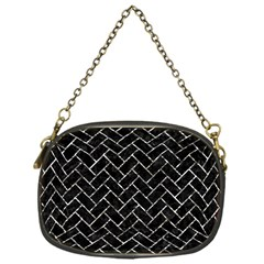 Brick2 Black Marble & Silver Foil (r) Chain Purses (one Side)  by trendistuff