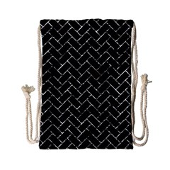 Brick2 Black Marble & Silver Foil (r) Drawstring Bag (small) by trendistuff