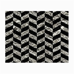 Chevron1 Black Marble & Silver Foil Small Glasses Cloth by trendistuff