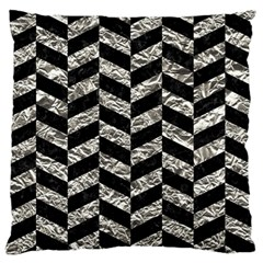 Chevron1 Black Marble & Silver Foil Large Flano Cushion Case (two Sides) by trendistuff