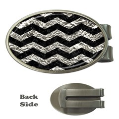 Chevron3 Black Marble & Silver Foil Money Clips (oval)  by trendistuff