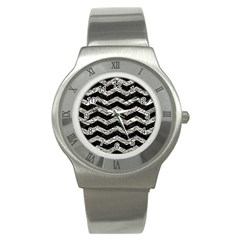 Chevron3 Black Marble & Silver Foil Stainless Steel Watch by trendistuff
