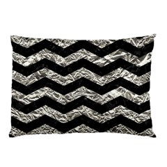 Chevron3 Black Marble & Silver Foil Pillow Case