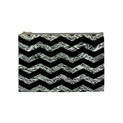 Chevron3 Black Marble & Silver Foil Cosmetic Bag (medium)  by trendistuff