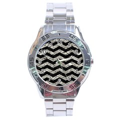 Chevron3 Black Marble & Silver Foil Stainless Steel Analogue Watch by trendistuff