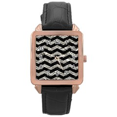 Chevron3 Black Marble & Silver Foil Rose Gold Leather Watch  by trendistuff