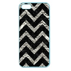 Chevron9 Black Marble & Silver Foil (r) Apple Seamless Iphone 5 Case (color) by trendistuff